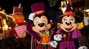 """Mickey and Minnie, dressed in their Halloween finest, at Mickey's """"Boo-To-You"""" Halloween parade"""