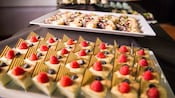 Platters featuring a variety of mini desserts