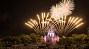 A vibrant evening showcase exploding above Cinderella Castle at the Wishes Fireworks Dessert Party