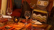 African-inspired bar and table seating in Sanaa
