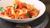 A bowl of Papardelle with Tomato Basil Sauce