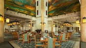 The American Northwest-inspired dining room at Artist Point restaurant at Disney's Wilderness Lodge