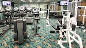 Exercise and fitness room with weight machines, running machines, mirrored wall and flat-screen TVs