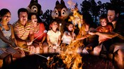 8 people, from kids to adults, sitting around a campfire roasting marshmellows with Chip 'n Dale