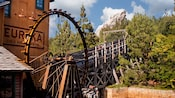 The Eureka Gold and Lumber Co. building and mill wheel at the Grizzly River Run attraction