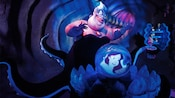 Ursula the Sea Witch gazes into her crystal ball and sees Ariel