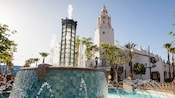 Fountain in front of Carthay Circle Restaurant along the Red Car Trolley route