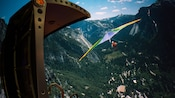 Soarin' Over California featuring a hang-glider drifting above Yosemite Valley