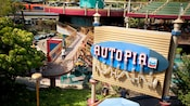Sign for the Tomorrowland attraction: Autopia, presented by Chevron