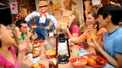 A family gathers at Big Thunder Ranch to dine at the barbecue restaurant