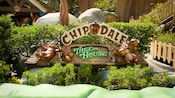 The sign for Chip 'n' Dale Treehouse features the 2 industrious chipmunks