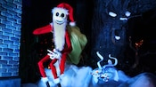 During the holidays at Disneyland Park, Santa Jack Skellington and his ghost dog Zero appear in the Haunted Mansion attraction
