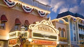 Lit marquee for the Main Street Cinema at Disneyland Park