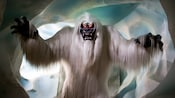 The monstrous Matterhorn Bobsleds Yeti with sharp teeth, long claws and glowing eyes