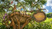 Fanciful sign for Pixie Hollow in Fantasyland at Disneyland Park