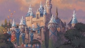 Concept art of Sleeping Beauty Castle decorated with banners, sparkling gems and diamond turrets