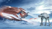 An AT-AT attacks a Star Tours - The Adventure Continues vehicle during the Battle of Hoth