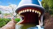 A whale's open mouth waits to 'swallow' The Storybook Land Canal Boats