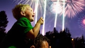 A boy sitting on his father s shoulders smiles while vibrant fireworks illuminate the evening sky