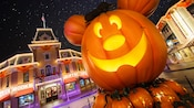 Mickey-inspired pumpkin decoration on Main Street, U.S.A.