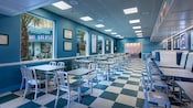 Tables, chairs and car-inspired interior decor at Flo's V8 Cafe