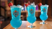 3 glasses of Voodoo Lounge signature blue cocktails