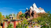 A section of Animal Kingdom Theme Park with Forbidden Mountain in the background
