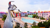A giant Tramp sculpture from Disney's 'Lady and the Tramp' overlooking the Bowling Pool at Disney's Pop Century Resort
