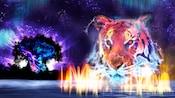 Interpretación artística de un tigre en el espectáculo nocturno Rivers of Light, junto al Tree of Life