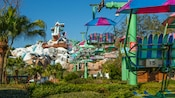 A colorful chairlift at Disney's Blizzard Beach Water Park