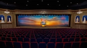 The American Adventure's theater with a long, shallow stage inside the pavilion at Epcot