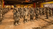 Rows of terracotta Tomb Warriors on display at House of the Whispering Willows at the China pavilion