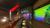 The airport-themed queue inside Soarin', featuring a picture of a natural wonder