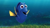 Dory, a friendly Pacific regal blue tang fish with a short memory