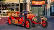 A replica of one of the first fire trucks, parked outside City Hall in Magic Kingdom park