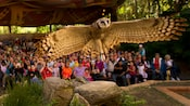 A great horned owl prepares to land at Flights of Wonder at Disney's Animal Kingdom park