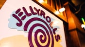 Close-up of a Jellyrolls sign