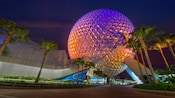 The futuristic Spaceship Earth geosphere is illuminated at night, surrounded by palm trees