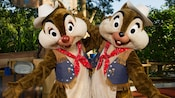 Chip 'n Dale in cowboy outfits at Meet Chip 'n Dale near The Diamond Horseshoe