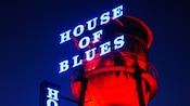 House of Blues sign lit up after dark