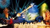 Sorcerer Mickey and pyrotechnics during the Fantasmic! fireworks show at Disney's Hollywood Studios