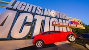 Sign for the Lights, Motors, Action! Extreme Stunt Show at Disney's Hollywood Studios park