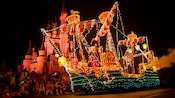 Captain Hook's Pirate Ship float in the Main Street Electrical Parade outside Cinderella Castle