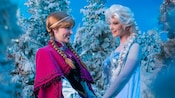 Princess Anna and Queen Elsa Characters grin and hold hands while surrounded by snowy pine trees