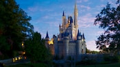 Cinderella Castle with green trees flanking it at dusk
