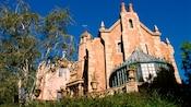 Looking skyward at the Haunted Mansion