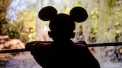 Silhouette of a kid wearing Mickey Mouse ears