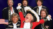 The 6 members of Paul Revere and the Raiders band dressed in vintage military-style uniforms