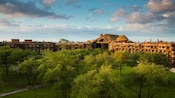 The treetops and thatched roofs of Disney's Animal Kingdom Lodge at daybreak