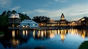 View from the Sassagoula River of Disney's Port Orleans Resort – Riverside in the evening
